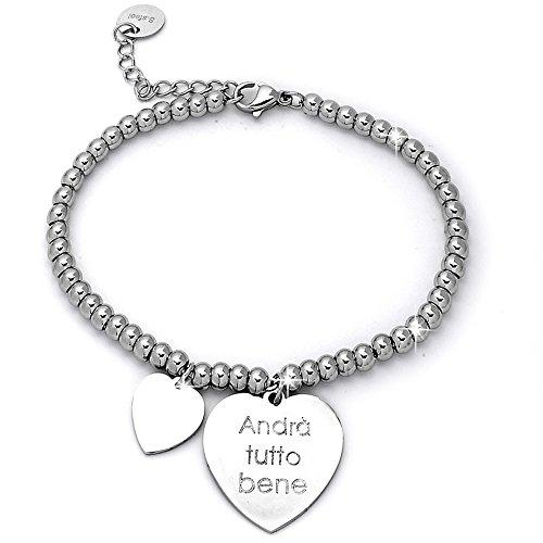 Beloved Braccialetto da donna, bracciale in acciaio emozionale - frasi, pensieri, parole con charms - ciondolo pendente - misura regolabile - incisione - argento (MOD 13)