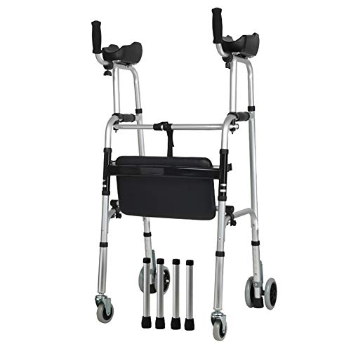 Tcaijing Laufgestell Folding leichte Unterarmstütze Rollator Rollator mit Sitz/Armlehne Pad und 2 Räder Ski Feet zbq