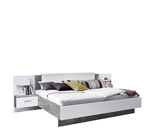 FORTE Ginger, Bett, Modernes Futonbett mit Inkludierten Nachtkonsolen, Betonoptik kombiniert mit Weiß, 275.5 x 205.7 x 95.6 cm, Liegefläche 180 x 200 cm