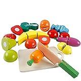 HVDHYY Juguetes Frutas y Verduras Juego de Roles Cocina Cortar Juguete Madera Educativos de Simulación Juguete de Percepción de Color para Regalos de Niños Mayores 2 Años con Bolsa de Almacenamiento