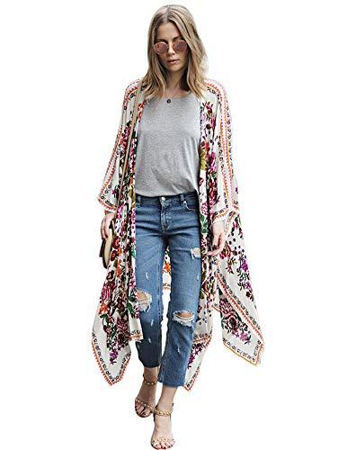 Zexxxy Damen Lange Sommer Boho Strand Kimono Cardigan Bluse Blumen Tops Bikini Cover Ups Übergroß Strickjacke Outwear, Colorful, L