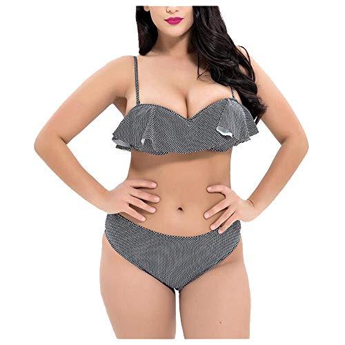 Liyuzhu Big Size Women's Swimsuit dames Sexy Bikini Ruffle Two-Piece Swimsuit (Color : Black, Size : XXXL)
