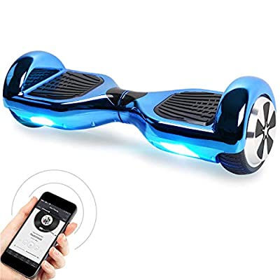Windgoo Hoverboard 6.5 Inches Self Balancing Scooter with Bluetooth Speakers - Portable Bag - LED Segway Electric Scooter Best Gifts for Kids (Chrome Blue)