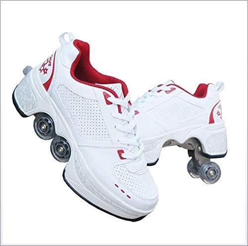 Wedsf Rädern Skate Sportschuhe 2 in 1 Multifunktions 4 Rad Verstellbare Rollschuhe Laufschuhe Sneakers Turnschuhe Rädern Deformation Schuhe,40