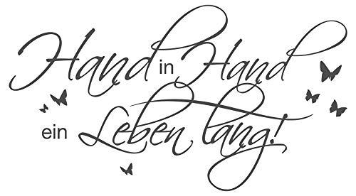dekodino Wandtattoo Spruch Hand in Hand EIN Leben lang!