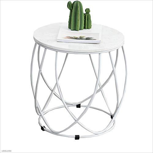 YNN Table Table Basse Ronde en marbre côté/Snack/Fin/Table de téléphone Salon 45 * 46cm 3 Couleurs (Couleur : Blanc)