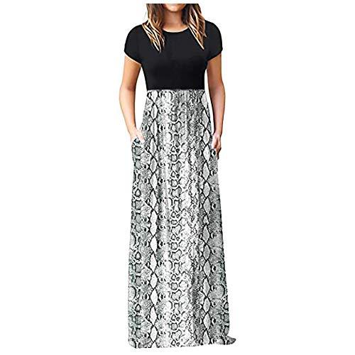 Dosoop - Vestido largo de verano para mujer, manga corta, estampado floral, informal, con bolsillos