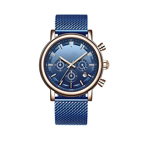 N·XHXL Men Quartz Watches, Fashion Military Sport Waterproof Wrist Watch for Business Casual, Stainless Steel Mesh Belt Strap, Best Gifts for Him,Blue