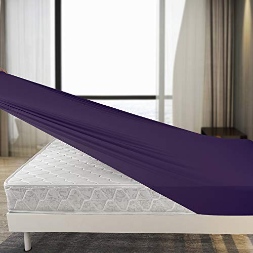 Purple Fitted Sheet Only Queen Size - Stretch...