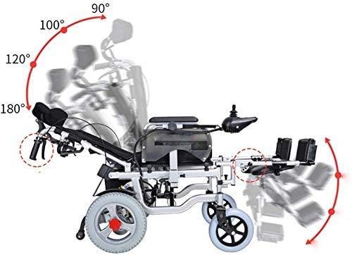 GQQ Komfort Leichter Faltbarer Elektrischer Rollstuhl Elektrischer Rollstuhl Alter Mann Kann Im Alter Liegen Behinderte Offroad-Rollstuhl Elektrische Hebebein-Rückenlehne (Schwarz)