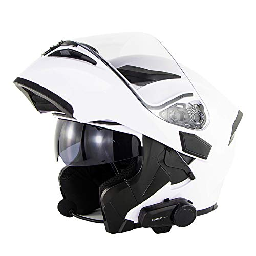 EBAYIN Casco Motocicleta Bluetooth, integrale Bluetooth Integrado Cara Completa Cascos Moto Dot ECE a Prueba Agua Cascos Modulares Bluetooth Visores Duales Intercomunicador Mp3 FM,B-S=(55~56cm)