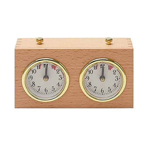 KANUBI Schachuhr, professionelle Schachuhr, mechanische Stoppuhr, Schach-Timer, Countdown-Timer, Schach-Timer mechanische mechanische Schachuhr aus Holz tragbare Countdown-Uhr