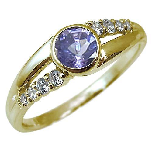 [プレジュール]指輪 レディース イエローゴールド K18 タンザナイト 一粒 12月誕生石 リング リングサイズ15号
