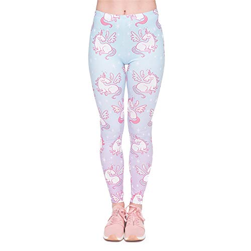 MAOYYMYJK Moda Mujer Legging Unicornios Alas Leggings de impresión Elegante y Acogedor Pantalones de Mujer de Cintura Alta
