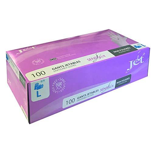 Guanti, confezione da 100 getti, in vinile, senza polvere, ipoallergenica, senza lattice, multiuso, extra forti, taglia L