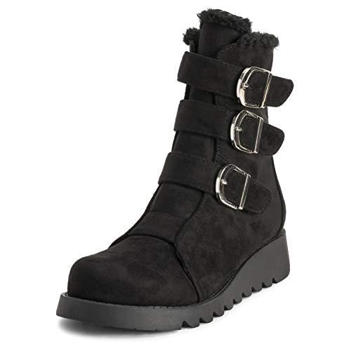 VIVASHOhe rubberen zool voor dames, volledig kunstbont, gevoerd, leer, waterdicht, meerdere gesp, winter, enkelschoenen, laarzen