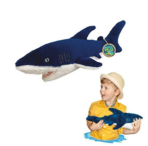 EcoBuddiez - Tiburón Mako de Deluxebase. Peluche Mediano de 40 cm elaborado con Botellas de plástico recicladas. Lindo Peluche ecológico con Forma de animalito para niños pequeños.
