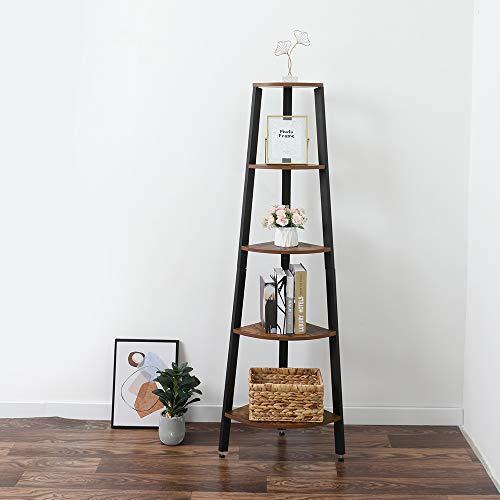 Hapeisy Estantería de esquina industrial con 5 estantes, estantería de esquina alta, estantería de almacenamiento, estante de escalera para sala de estar, cocina, oficina en casa (30 x 33 x 16 cm)