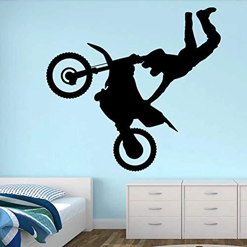 Pegatina de pared de vinilo con personalidad de motocicleta, pegatina de pared de suspenso de Halloween, boca grande sonriente