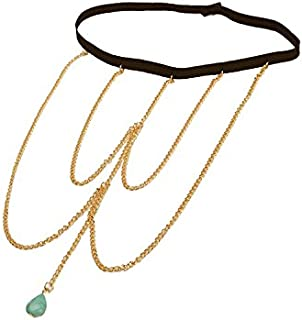 FemNmas Blue Gold Metal Stone Summer Thigh Chain for Girls