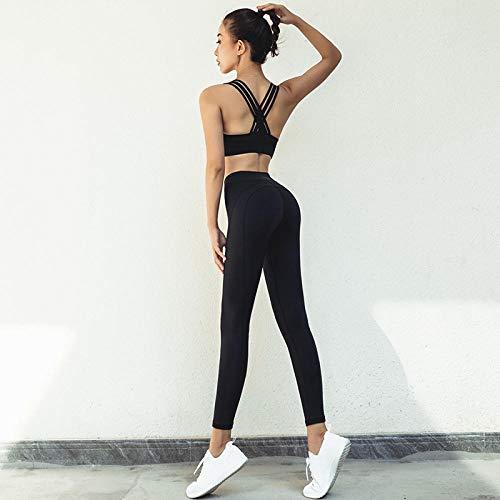 Panty voor dames leggings voor dames nieuwe yoga kleding kruis vrouwelijk lente en zomer pak mooie rug effen snel drogende broek vrouwelijk tweedelig gember XL