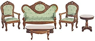 Melody Jane Dollhouse Victorian Living Room Furniture Set Walnut & Green