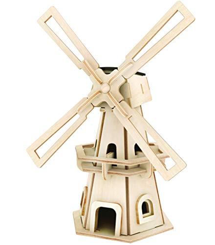 Solar Holzbausatz 3D Puzzle Windmühle