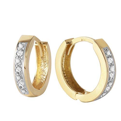 Galaxy Gold Genuine 14k Solid Yellow Gold Hoop Huggie Earrings with Stunning 0.04 Carat Natural Diamonds (0.04 Ct Diamond Fashion)
