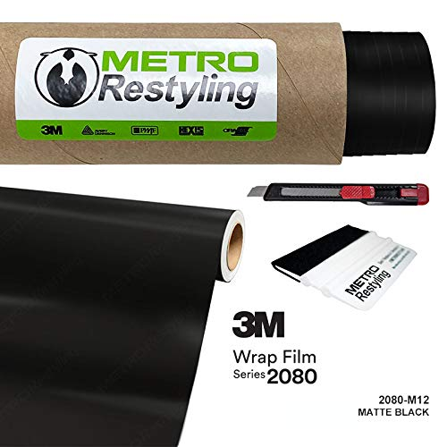 Metro Restyling 3M 2080 Matte Car Wrap Vinyl Film W Felt Edge Squeegee Retractable Knife Blade Kit (5ft x 30ft, M12 Matte Black)