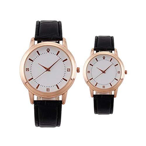 Koppelhorloge, romantisch analoog quartzhorloge voor hem en haar, horloge met leren band, 2-delige cadeauset voor koppels,Black