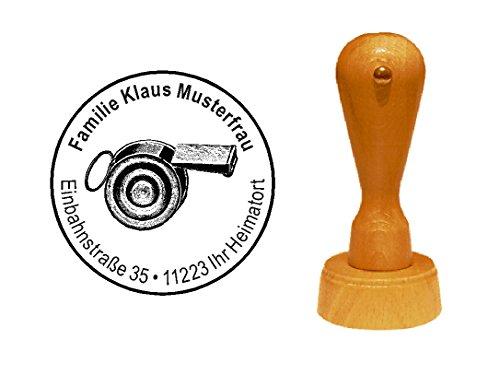Stempel houten stempel motiefstempel « SCHIEDSRICHTERfluitje » met persoonlijk adres - Voetbal scheidrechter trillerfluitje