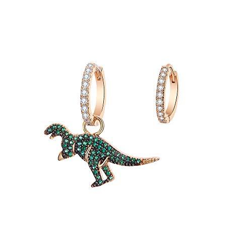 Orecchini a cerchio con pendente a forma di dinosauro, da donna, ipoallergenici, placcati in argento e oro rosa, con zirconi, regalo per mamma e amici e Rame, colore: Placcato oro., cod. TEH0314-GD