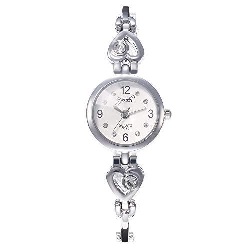 Allskid Mujer En Forma de Corazon Rhinestone Pulsera Relojes Exquisito Pequeña Marcar Acero Inoxidable Correa Cuarzo Niñas Relojes de Pulsera