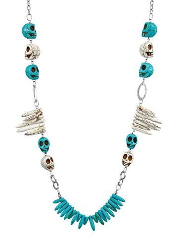 Halskette mit Totenkopf und Knochen, Craquelé-Finish, Türkis/Weiß