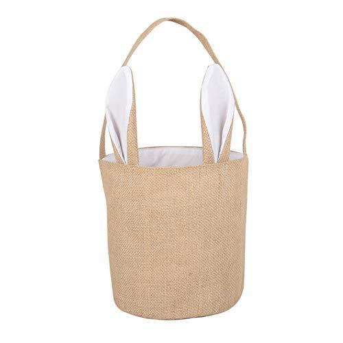 XING Osterhasen Taschen Osterkorb Jute Sacwinzigen Bunny für Eiersuche, Süßigkeiten & Geschenke Tragetasche (Weiß)