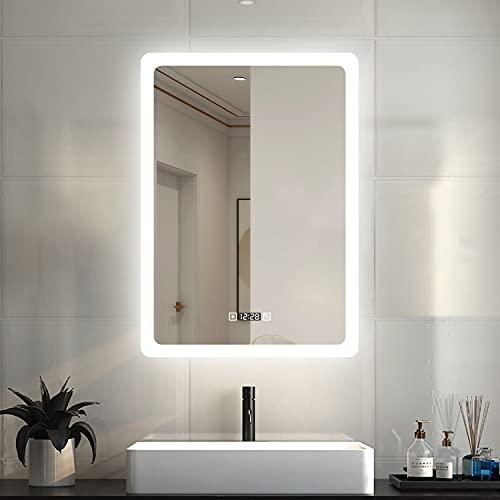 LED Badspiegel 50×70cm Wandspiegel mit Uhr, Touch, Beschlagfrei Badezimmerspiegel mit Beleuchtung Lichtspiegel IP44 Kaltweiß energiesparend
