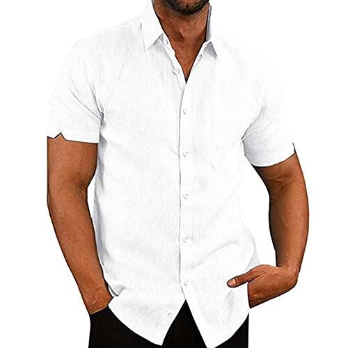 Verano Casual Hombres De Lino De Manga Corta Sólida Camiseta Casual Masculino Suelto Vestido Blusa Suave Delgado Hombres Tee Tops, blanco, L