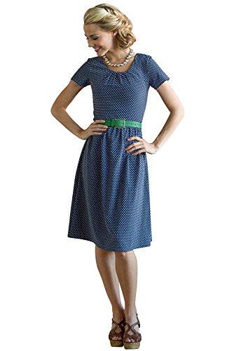 Mikarose Dixie Dress in Navy Polka Dot