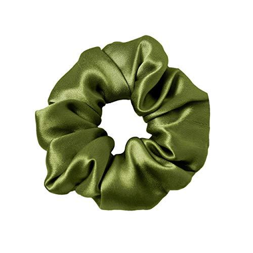 LilySilk Silk Hair Scrunchies for Frizz&Breakage Prevention, 100% Mulberry Silk Hair Ties No Damage, Elastic Silk ponytail Holders, 1Pc, Dark Green