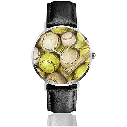 EIN Bild von Baseballs Softballs und A Bat Men Fashion Sports Minimalist Armbanduhr Lederarmband Uhr