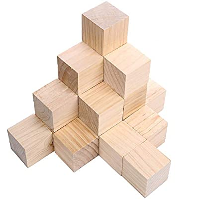 12 Pcs 2 inch Wooden Cubes Unfinished Wood Blocks for Wood Crafts, Wooden Cubes, Wood Blocks, Great for Baby Showers