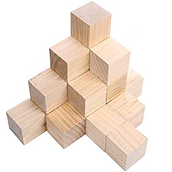 Supla 20pcs 2 inch Wooden Cubes Unfinished Wood Blocks for Wood Crafts Wooden Cubes Wood Blocks Great for Baby Showers  20pcs