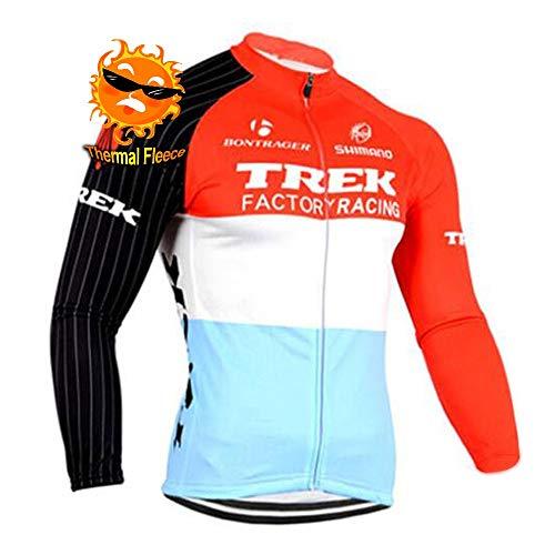 ADKE Invierno Hombre Maillot Ciclismo Mangas Largas, Conjunto Ropa Ciclismo con Forro Térmico y Pantalones Ciclismo Largos con Acolchado 3D para Deportes al Aire Libre