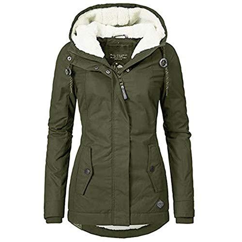 Waterdichte warme winterjas met capuchon Dikke fleece gevoerde katoenen jas voor dames (green, L)