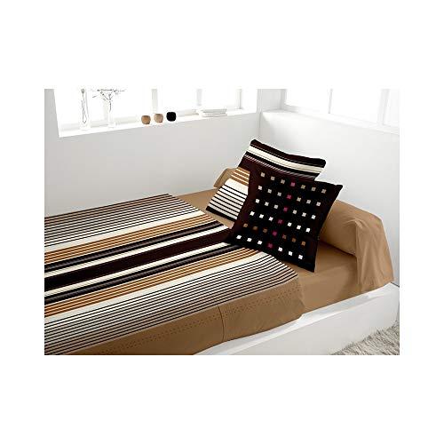 Eden 242310 Parure de Lit 4 Pièces Bravo Chocolat 240 x 300 cm