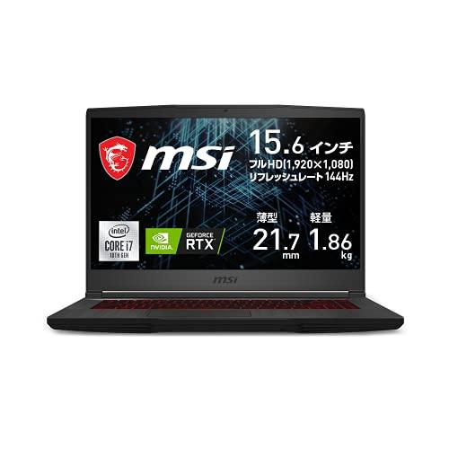 【NVIDIA最新RTX3060搭載・薄型軽量】MSIゲーミングノートPC GF65 1.86Kg i7 RTX3060/15.6FHD/144Hz/16GB/512GB/GF65-10UE-258JP