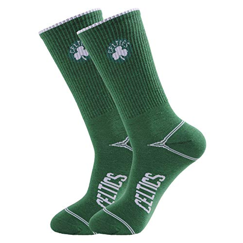 DUODUO 1-Pair Crew Socks Unisex Athletic Basketball Socks of Cotton Moisture Wicking Heavy Cushion Athletic Work Socks (Celtics - Green)