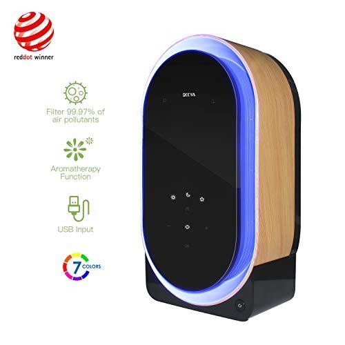 Deeya Desktop-Luftreiniger, Raumluftreiniger mit HEPA-Filter und UVB-Desinfektionsmittel, Nachtlicht, Aromatherapie-Funktion, integrierte Audioelektronik