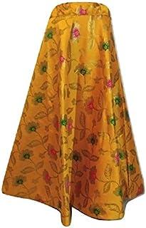SNEH Women's Brocade Silk Floral Print Skirt (Yellow,Free Size)