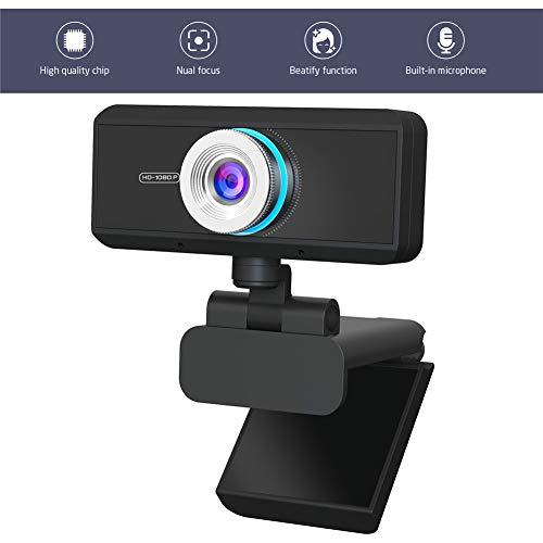 TANCEQI 1080P Full HD Webcam, ingebouwde ruisonderdrukking Microfoon Stream Webcam USB Mini Computer Camera Ingebouwde Flexibele Draaibare Clip, voor Video Conferencing, Online Werk, Home Office